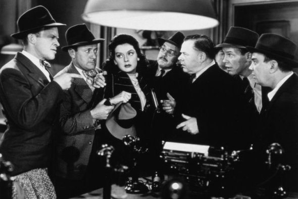 "Rosalind Russell and Gene in ""His Girl Friday"" (1940)"