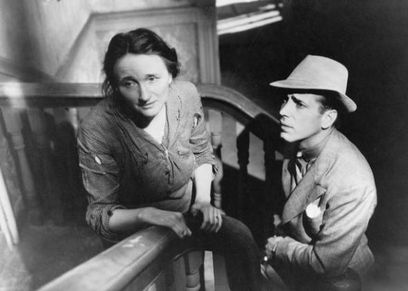 "Marjorie with Humphrey Bogart in the film version of ""Dead End"" (1937)"