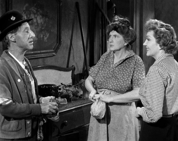 "Percy Kilbride, Marjorie, and Claudette Colbert in ""The Egg and I"" (1947)"