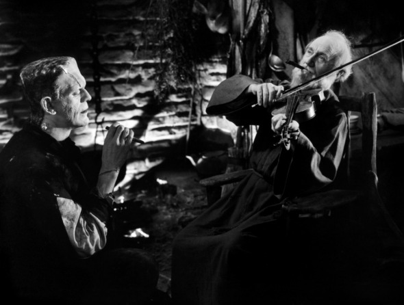 Boris Karloff as the Monster and O.P. Heggie as the Hermit