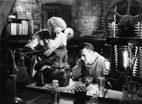 Ernest Thesinger as Dr. Pretorius and Colin Clive as Dr. Frankenstein